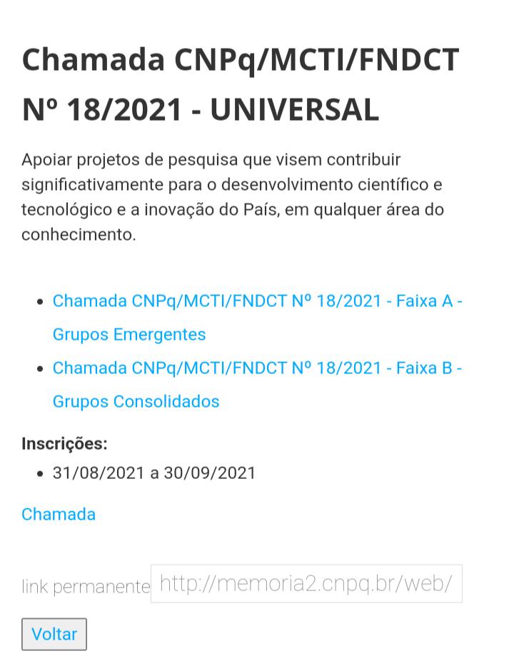 Chamada CNPq/MCTI/FNDCT N° 18/2021 - UNIVERSAL