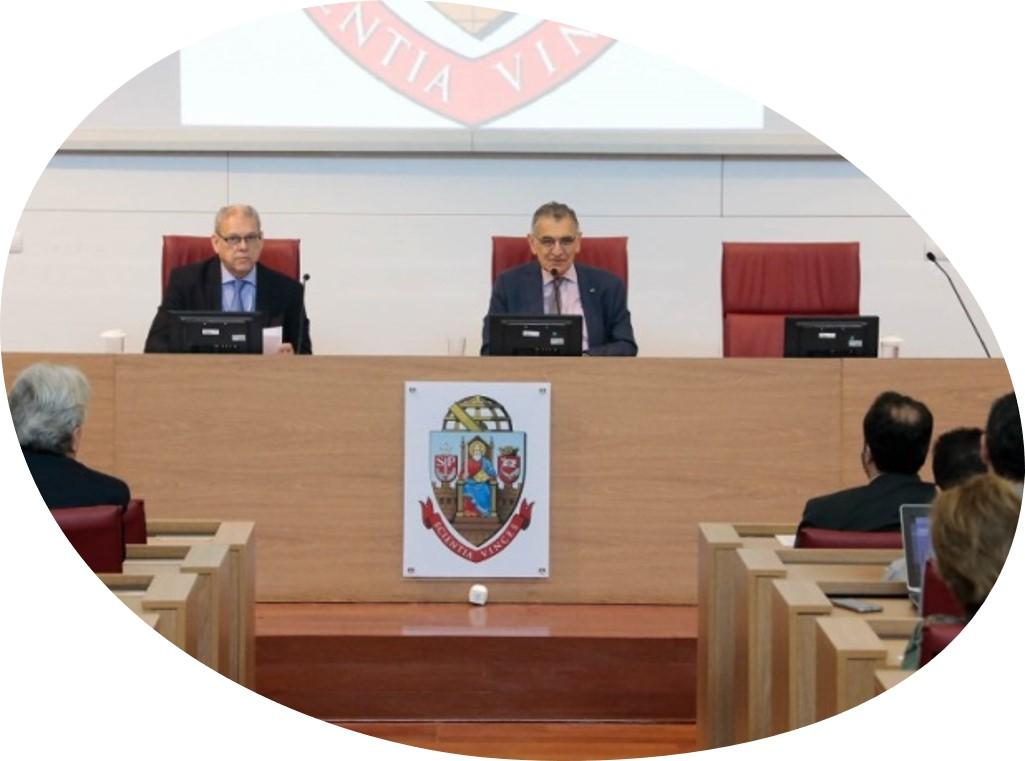 O Pró-Reitor de Pesquisa, Sylvio Canuto, e o Reitor Vahan Agopyan na abertura do II Encontro sobre Ciência Aberta. Foto: Marcos Santos/USP Imagens